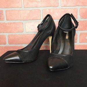 BCBG black high heel shoes 8 1/2 ankle strap heels